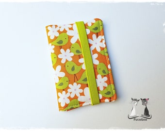 Business Cards-case-Vögel2-birds-flowers-flower-orange Green Green