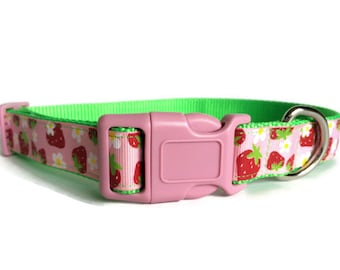 Pink and Strawberry Dog Collar - Adjustable, Daisy, Cottage Chic, Girl Dog