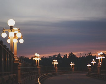 Pasadena photography, Colorado Street Bridge at night photograph, California photo, bokeh, sunset, street lamps, purple pink, Rose Bowl