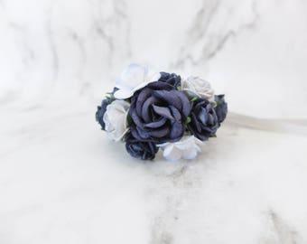 Navy blue wedding flower wrist corsage - bridal accessories flower girls bridesmaids - flower bracelet mother of the groom bride