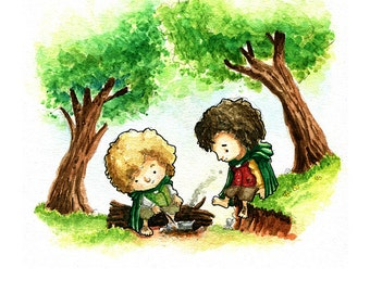 The Hobbits Frodo and Sam Watercolor Print