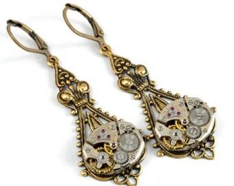 Steampunk Jewelry Steampunk Earrings Steampunk Watch Earrings Steam Punk Jewelry Antique Brass Steampunk Wedding by Victorian Curiosities