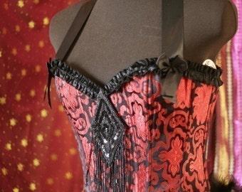 PALOMINO  Burlesque Showgirl Plus Size Corset Costume Red Black brocade 2XL, XXL