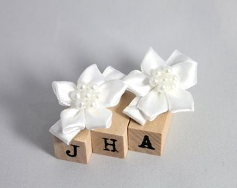 Wedding/Flower girl hair clip - white satin flowers
