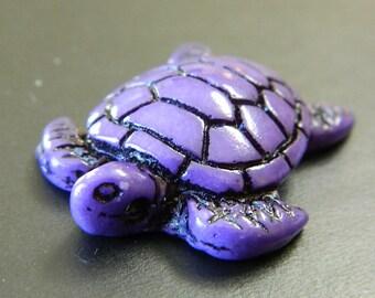 Purple Resin Sea Turtle Amulet - Resin Salt Life Turtle Focal - Purple Resin Tribal Turtle Pendants - Purple Sea Life Salt Water Turtle