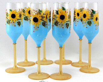 Sunflower wedding glasses, Sunflower glasses, Summer wedding, Wedding glasses, Champagne flutes, Wine glasses, Set of 2