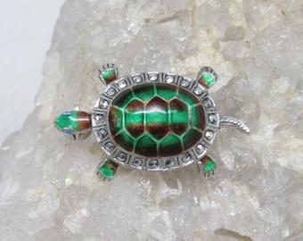 Vintage Alice Caviness Sterling Silver Enamel Marcasite Turtle Brooch