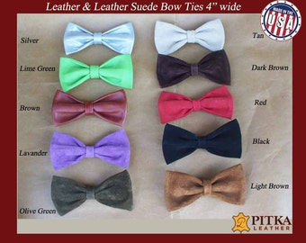 Bow Tie - Mens Bow Ties - Red Bow Tie - Black Bow Tie - USA Bow Ties - Bow Tie for Men - Bow Neck Tie - Clip on Leather-Bow Ties