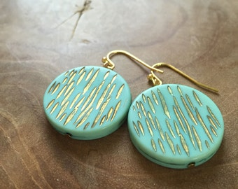 Vintage Stripes - Pair of limited edition dangling earrings with round vintage beads, lightblue, with stripes, metallic gold. blue