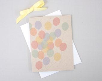 Rainbow Balloons Birthday Card / Colorful Balloons Happy Birthday Card / Modern Birthday Note Card / Fun Birthday Card / Cute Bday Card