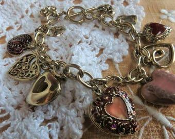 Vintage Liz Clairborne heart charm bracelet