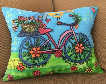Bicycle Art Pillow Cover 18x15 by Elizabeth Claire