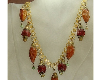 1920s Chinese Immortals Hedaio Peach Pit & Jade Book Link Chain Necklace