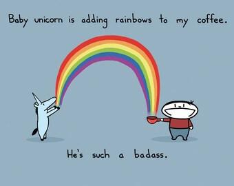 Unicorn Adds Rainbow To My Coffee Greeting Card