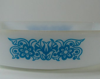 Vintage Federal Bouquet Pattern Loaf Pan, White and Blue, Turquoise Loaf Pan