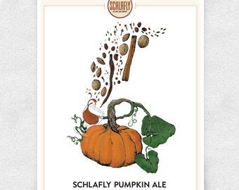 Pumpkin Beer Art Print, Schlafly Pumpkin Ale, Bar Art, Brewery Art, Illustration / 12x16 Print