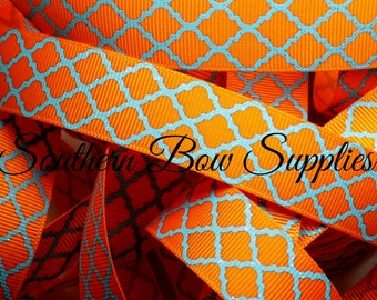 NEW--7/8 inch wide Grosgrain Ribbon--3 Yards--Turquoise on Tangerine Glitter Quatrefoil--USA Designer