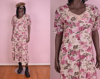 90s Floral Print Lace Flowy Dress/ Small/ 1990s