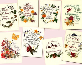 Prints, calligraphy, pressed flowers, personalize, mother's day. ready to frame, 5x7, 8x10,