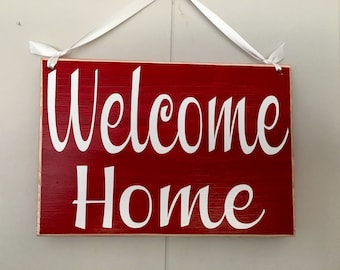 8x6 Welcome Home (Choose Color) Shabby Chic Sign