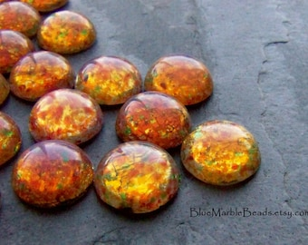 Fire Opal, Opal Glass, Fire Opal Cabochon, Glass Cabochon, Flat Back, Round Cabochon, Harlequin, Domed, Rare, 12mm, 6 Cabochons