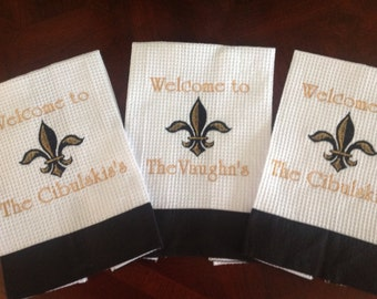 Personalized Hand Towel with Fleur  De Lis Design