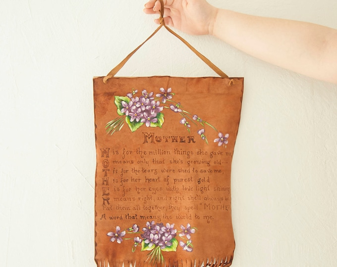 Vintage Mother's Day wall hanging, leather hand-painted burned poetry poem brown fringe purple floral decor gift for mom, 1940s