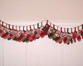 ADVENT GARLAND - 24 numbered stockings - hand knit