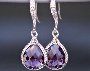 Teardrop Amethyst Crystal Earrings with Pave' Crystal French Earrings in Silver