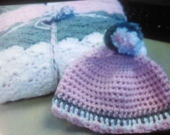 Crochet baby blanket and hat