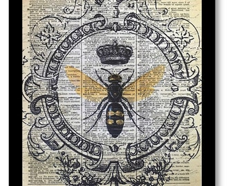 Bee Crown Art Print, Honey Bee Art Prints, Honey Bee,Mixed Media Size 8x10 Vintage Dictionary Page Art Prints, Honey Bee Pictures, Bees