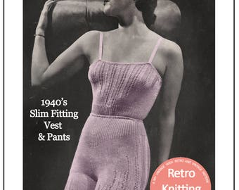 1940's Camisole and Panties  Knitting Pattern - PDF Pattern - Instant Download