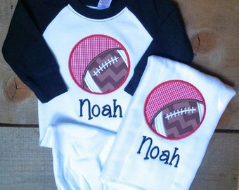 Baby Boy Black Sleeve Raglan Infant Gown Football Applique with Monogram Name Newborn Personalized With or Without  Matching Burp Cloth