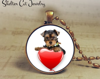 "Terrier Valentine Necklace - 1-1/4"" Circle Pendant or Key Ring - Puppy with Heart - Holiday Present or Gift for Dog Lover"