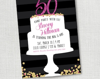 50th Birthday Party Invitation, printable, Woman's Birthday Invite, Girl's Night Out, Pink, Dinner, Female, 30th, 40th, 60th, 70th, 80th