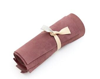 Genuine nubuck Italian cowhide leather scrap, wine red