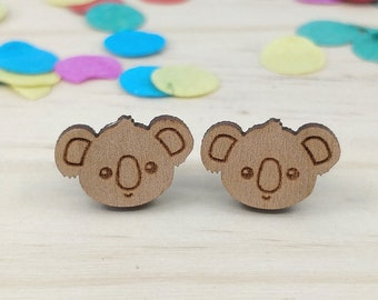 Koala Face Stud Back Earrings
