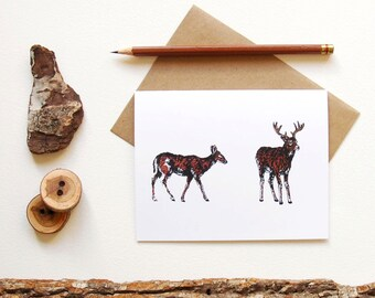 Deer Pair Card - Doe & Buck - Deer Print - Illustrated Greeting Card - Animal Couple - Animal Lover - Animal Pair - Canadian Wildlife Card -