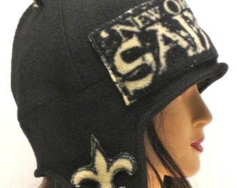 Handmade New Orleans Saints earflap hat ski hat fleece hat