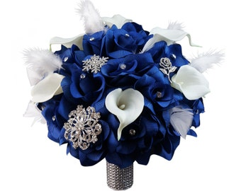 "10"" Wedding Bouquet - Royal Blue Roses, Calla Lilies, Silver (Brooch Accents) and White Feathers"