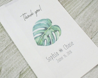 Beach Wedding Favor Treat Bags - Shower- Monstera Leaf- Personalized - Goodie Bag - Set of 25 - Printed Paper Bag - Thank you - Candy Buffet