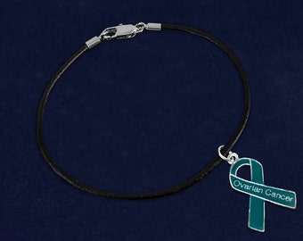 Teal Ribbon Ovarian Cancer Black Cord Bracelet (Retail) (RE-BC-29-3OC)
