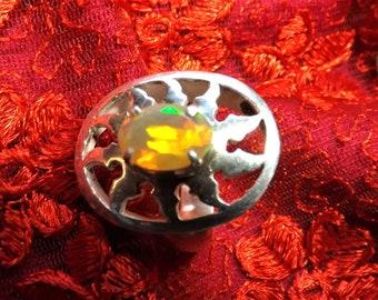 Silver 925 welo opal ring, Ethiopian opal all fire, ring African Opal