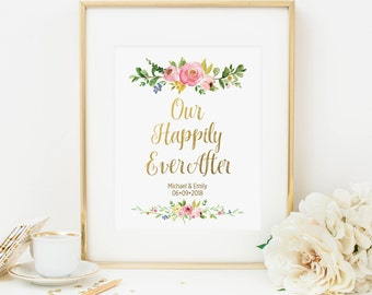 Our Happily Ever After Printable Personalized Wedding Sign Wedding Poster Pink Floral Wedding Decoration Pink Reception Sign Watercolor 233