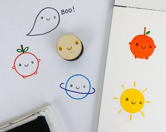 Smiley Face Polymer Stamp - Kawaii Happy Face Stamp for Crafts & Journalling