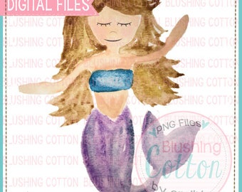 Mermaid Under the Sea Girl Summer PNG Watercolor Artwork Digital File - for printing and other crafts