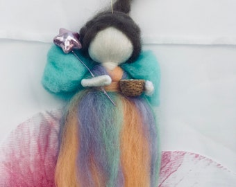 Blessing tooth fairy art doll  wool Waldorf Blossom Hand-felted Girls Room Ornament