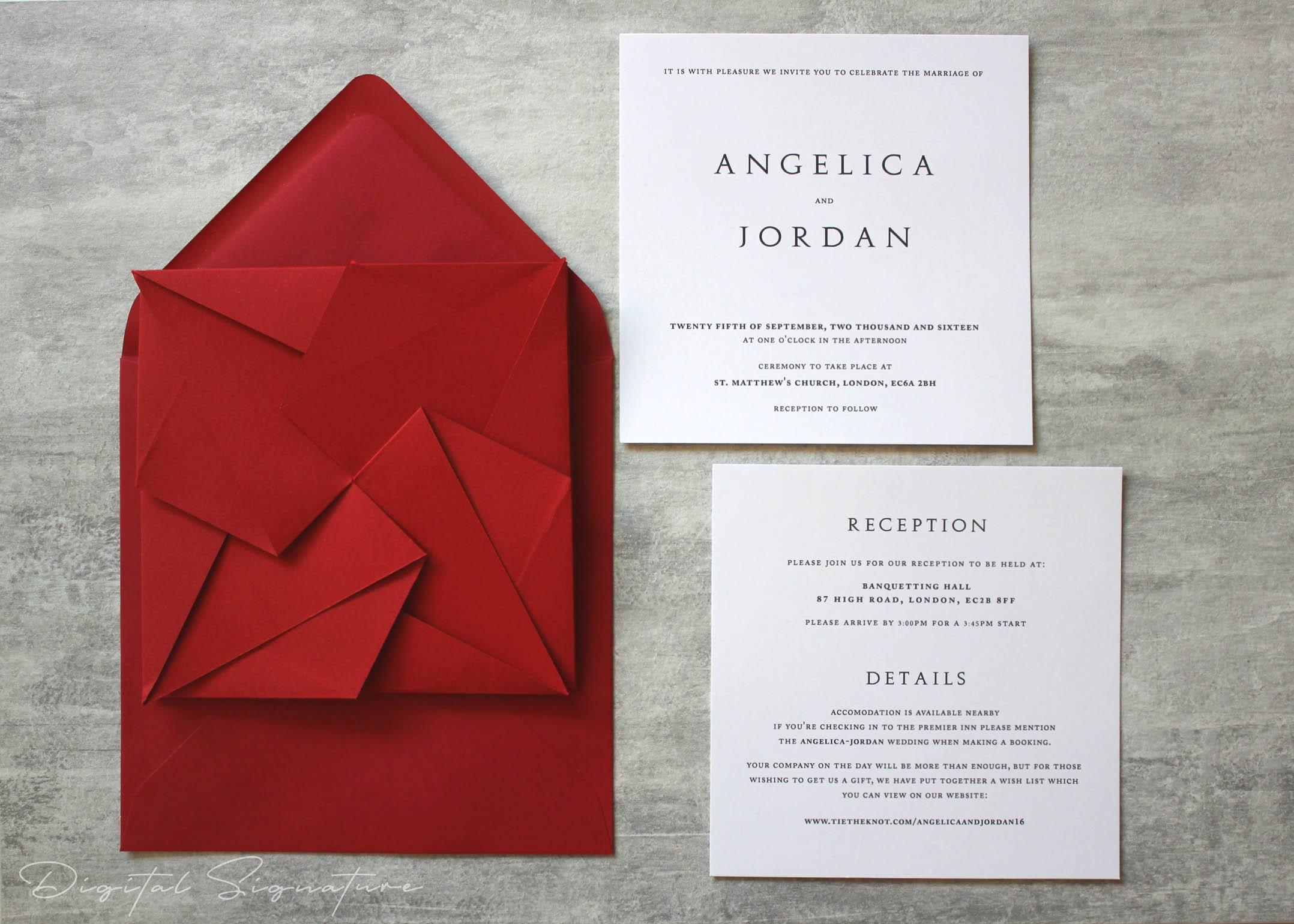 Scarlet Red Origami Wedding Invitation Unique Invitation