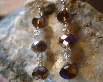Amber Crystal Earrings with Aurora Borealis Luster Gifts for Her Handmade Jewelry from The Hidden Meadow