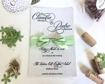 Naturally Exquisite Letterpress Invitation on Woodgrain Paper